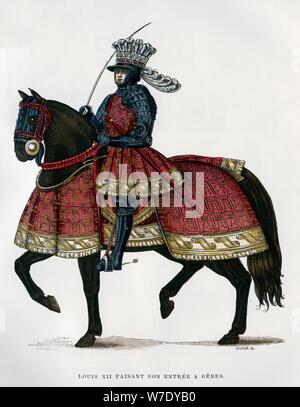 Louis XII, King of France, on horseback, 1498-1515 (1882-1884).Artist: Gautier - Stock Photo