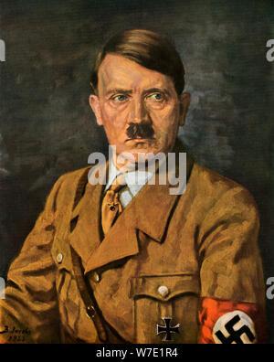 Portrait of Adolf Hitler, 1933.Artist: B von Jacobs - Stock Photo