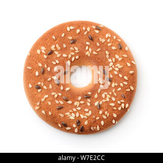 Top view of round cookie with sesame and flaxseeds isolated on white - Stock Photo