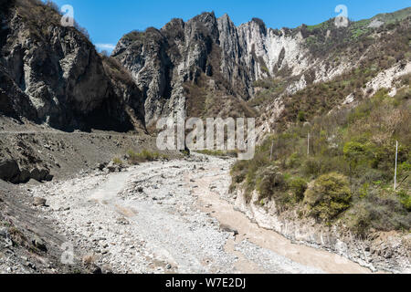 Ghirdiman river and mountainous landscape in Niyal Mountains near Lahic village in Azerbaijan. - Stock Photo