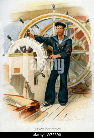 Royal Navy 2nd class Petty Officer, c1890-c1893.Artist: William Christian Symons - Stock Photo