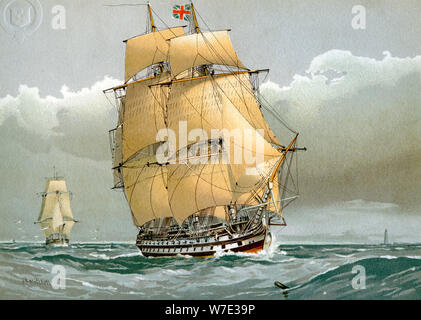 A 74 gun Royal Navy ship of the line, c1794 (c1890-c1893). Artist: William Frederick Mitchell - Stock Photo
