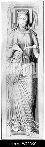 Effigy of Queen Eleanor, consort of Henry II, 13th century, (1910). Artist: Unknown - Stock Photo