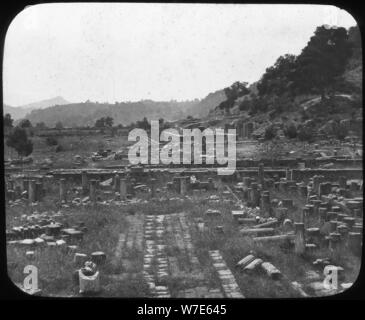 Mount Kronos and Temple of Hera, Olympia, Greece, late 19th or early 20th century. Artist: Unknown - Stock Photo