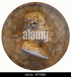Disc with a portrait of Aeschines, Ancient Greek statesman and orator, 2nd century. Artist: Unknown - Stock Photo