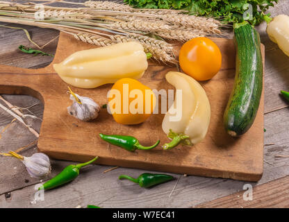 Fresh vegetables pepper, tomatoes, zucchini. Raw foods. Vegan food - Stock Photo