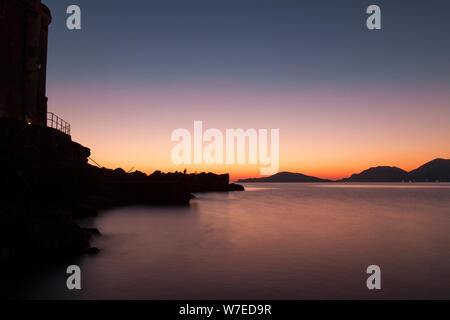 Landscape: Italy, on the cliff at winter sunset Stock Photo