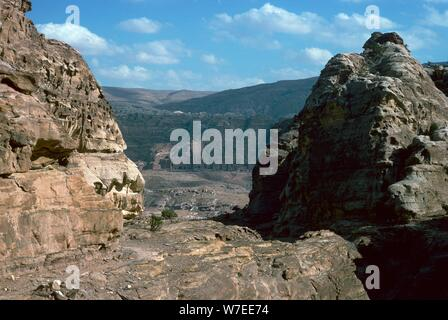 Looking down to the 'Royal Tombs' in Petra. Artist: Unknown - Stock Photo