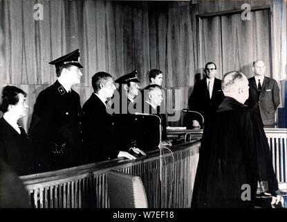 War crimes trial of Wilhelm Harster, Munich, West Germany, 1967. Artist: Unknown - Stock Photo