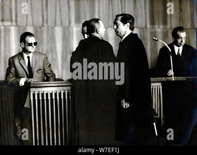 War crimes trial of former SS officers, Munich, West Germany, 1972. Artist: Unknown - Stock Photo