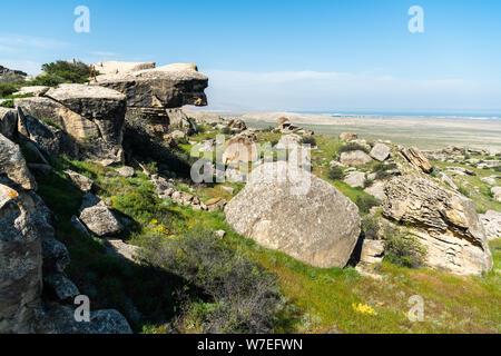Landscape in Gobustan national park, Azerbaijan, with boulder stacks. - Stock Photo