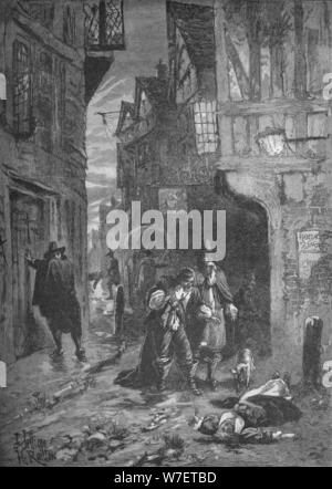 The Great Plague: scenes in the streets of London, 1665-1666 (1905). Artist: Unknown. - Stock Photo