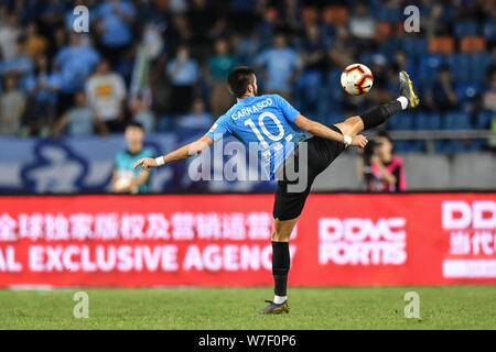 Belgian football player Yannick Ferreira Carrasco of Dalian Yifang dribbles against Chongqing SWM in their 21st round match during the 2019 Chinese Football Association Super League (CSL) in Chongqing, China, 2 August 2019. Dalian Yifang defeated Chongqing SWM 3-1. - Stock Photo