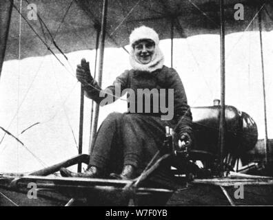 The second British woman pilot: Mrs. de Beauvoir Stocks in her Farman biplane, 1911 (1933). Artist: Flight Photo. - Stock Photo