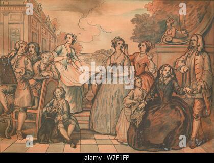 Sketch for 'The Jones Family Conversation Piece', 1730. Artist: William Hogarth. - Stock Photo