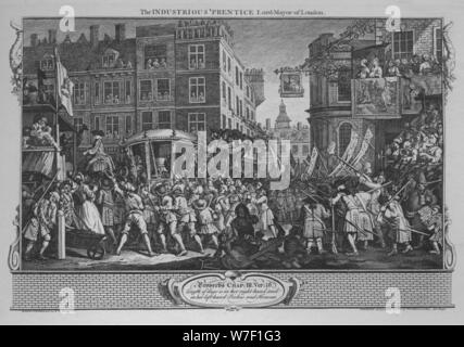 'The Industrious 'Prentice Lord-Mayor of London' - Plate 12 from 'Industry and Idleness', 1747. Artist: William Hogarth. - Stock Photo