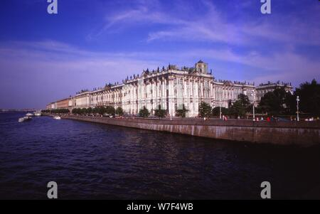 Winter Palace and River Neva, Leningrad, 20th century. Artist: CM Dixon. - Stock Photo