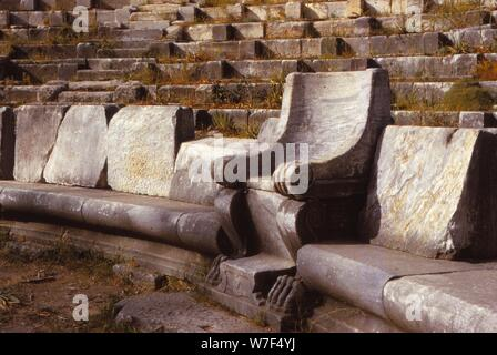 Prohedriai in the Greek Theatre of Priene, Turkey, 20th century. Artist: Unknown. - Stock Photo