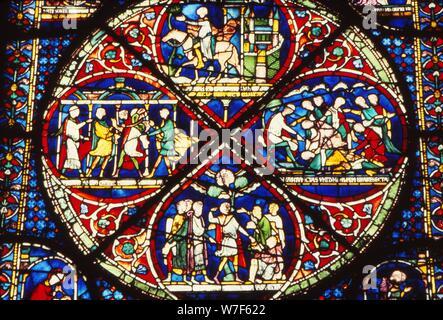 Window detail in Trinity Chapel, Canterbury Cathedral, England, UK, 20th century. Artist: CM Dixon. - Stock Photo