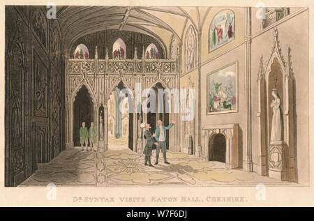 'Dr Syntax Visits Eaton Hall, Cheshire', 1820. Artist: Thomas Rowlandson. - Stock Photo