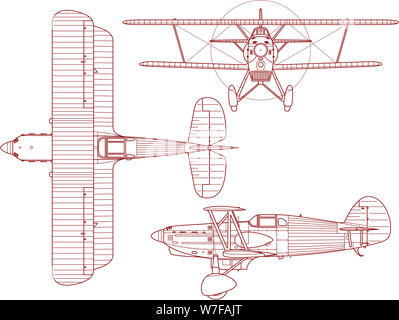 Schematic engineering blueprint of a Avia B-534 biplane as seen from the side the top and the front. This bi-plane was produced and made by Avia in Cz - Stock Photo