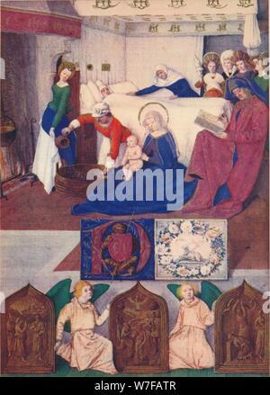 'The Birth of Saint John the Baptist', c1455, (1939). Artist: Jean Fouquet. - Stock Photo