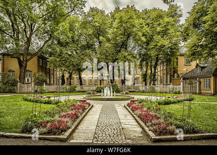 Stiftsgarden is the royal residence in Trondheim, Norway. It is centrally situated on the city's most important thoroughfare. - Stock Photo