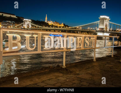 Around Budapest - The Castle district viewed from across the Danube at night. - Stock Photo