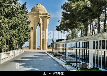 Baku, Azerbaijan - May 11, 2019. View of the Alley of Martyrs, towards the Eternal Flame Memorial, in Baku. View with graves and people. The Alley of - Stock Photo