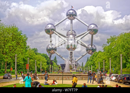 Brussels Atomium, erected for the 1958 Brussels World Fair, Belgium. - Stock Photo