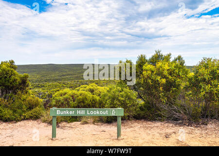 Endless bushland viewed from Bunker Hill Lookout, Kangaroo Islan, South Australia - Stock Photo