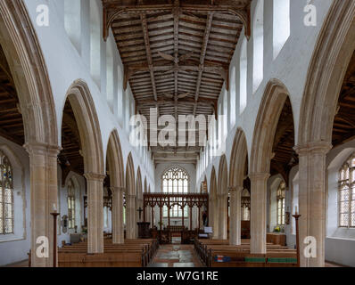 Interior view down nave to chancel with wooden roof, Holy Trinity church, Blythburgh, Suffolk, England, UK - Stock Photo