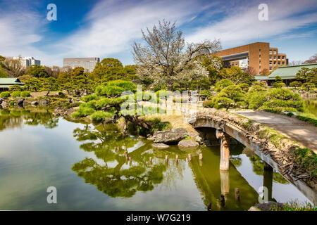 5 April 2019: Tokyo, Japan - Pond and bridge in Kiyosumi Garden, a traditional style landscape garden in Tokyo. - Stock Photo