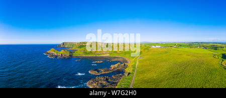 flight Panorama view of Giants causeway coastline on sunset time Northern Ireland