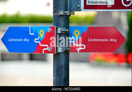 Vaduz, Liechtenstein. 24th July, 2019. The Liechtensteinweg - The Principality of Liechtenstein is 300 years old. It was founded on 15 August 1719, between Switzerland and Austria. Capital is Vaduz (in the picture). Credit: Volkmar Heinz/dpa-Zentralbild/ZB/dpa/Alamy Live News - Stock Photo