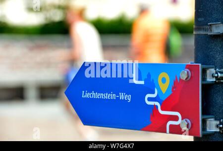 Vaduz, Liechtenstein. 24th July, 2019. The Lichtensteinweg - The Principality of Liechtenstein is 300 years old. It was founded on 15 August 1719, between Switzerland and Austria. Capital is Vaduz (in the picture). Credit: Volkmar Heinz/dpa-Zentralbild/ZB/dpa/Alamy Live News - Stock Photo