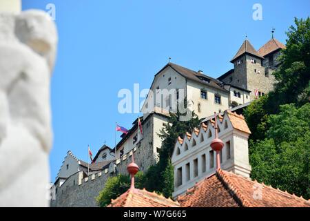 24 July 2019, Liechtenstein, Vaduz: Vaduz Castle on the Triesenberg - The Principality of Liechtenstein is 300 years old. It was founded on 15 August 1719, between Switzerland and Austria. Capital is Vaduz (in the picture). Photo: Volkmar Heinz/dpa-Zentralbild/ZB - Stock Photo