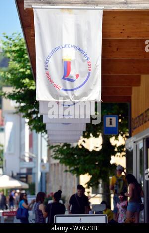 Vaduz, Liechtenstein. 24th July, 2019. The Principality of Liechtenstein is 300 years old. It was founded on 15 August 1719, between Switzerland and Austria. Capital is Vaduz (in the picture). Credit: Volkmar Heinz/dpa-Zentralbild/ZB/dpa/Alamy Live News - Stock Photo