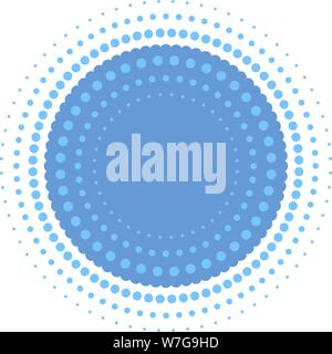 Vector illustration. Halftone circle in blue with concentric dots and copy space. - Stock Photo