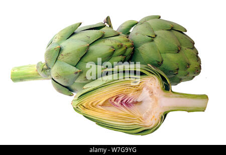 cutting half and whole artichoke isolated on white background - Stock Photo