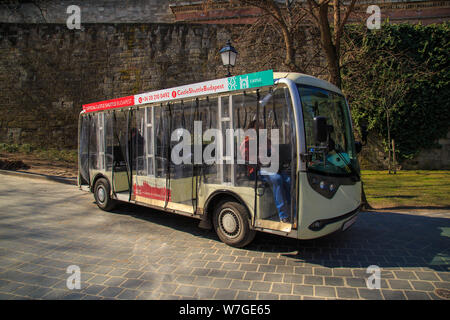 Budapest, Hungary, March 22 2018: Tourists shuttle car to Buda Castle. - Stock Photo