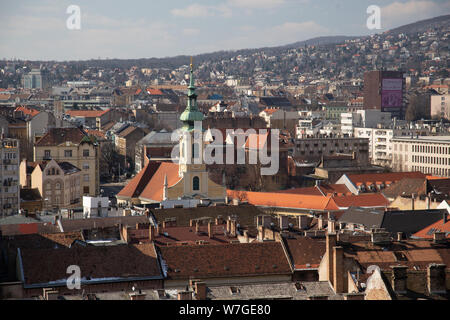 Budapest, Hungary, March 22 2018: Budapest - panorama from castle. - Stock Photo