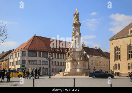 Budapest, Hungary, March 22 2018: Statue of the Holy Trinity, Budapest, Hungary. - Stock Photo