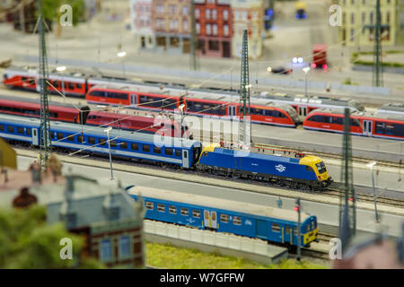 Budapest, Hungary, March 25, 2018: The maquette of retro freight train at Miniversum museum. - Stock Photo