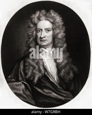 Sir Isaac Newton, 1642-1727. English physicist and mathematician.  After a painting by Sir George Kneller. - Stock Photo