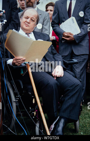 James Brady, Former White House Press Secretary under U.S President Ronald Reagan,attends a protest against the repeal of the assault weapons ban on Capitol Hill March 22, 1996 in Washington D.C. The U.S House of Representatives voted to lift the assault-type weapons ban by a vote of 239-173. - Stock Photo