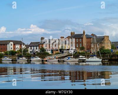 yachts on pontoon mooring on the River Ayr, Ayr, South Ayrshire, Scotland,UK - Stock Photo