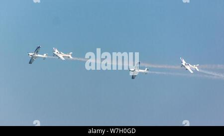 Acrobatic air show in ladispoli, italy - Stock Photo