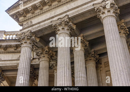 Supreme Court of the United States building front entrance with a scenic view of columns and steps under bright summer sun in Washington DC, USA - Stock Photo