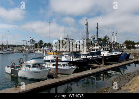 Boat marina in Crescent City, California - Stock Photo